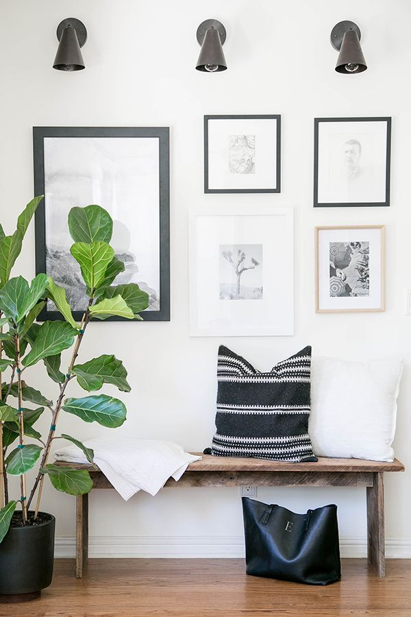 mudroom bench and artwork