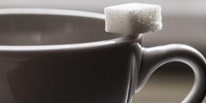 Sugar Cube On A Coffe Cup