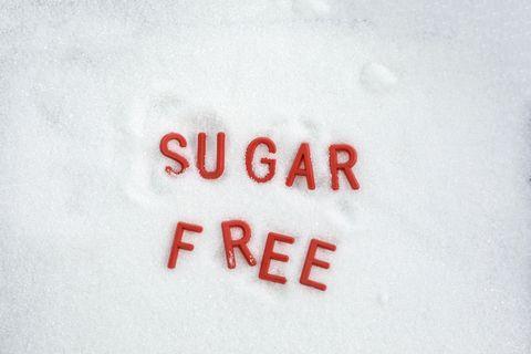 sugar free word written in sugar background