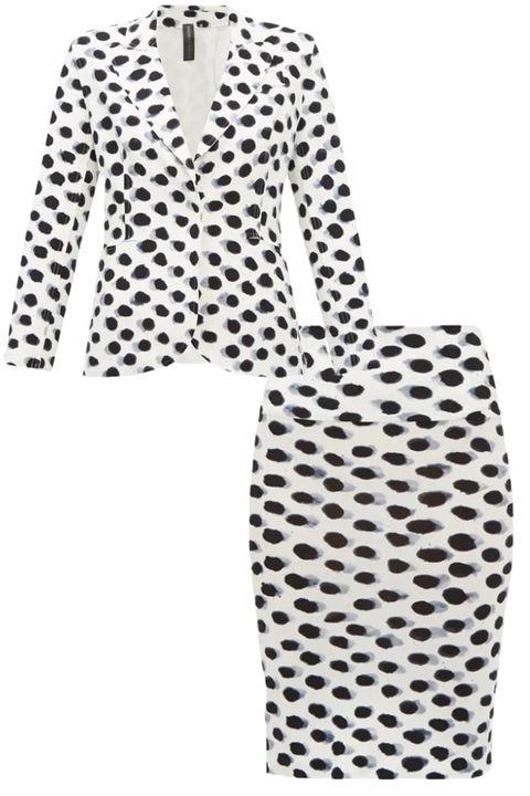 Clothing, Pattern, Day dress, Polka dot, Outerwear, Design, Sleeve, Dress, Black-and-white, Blazer,