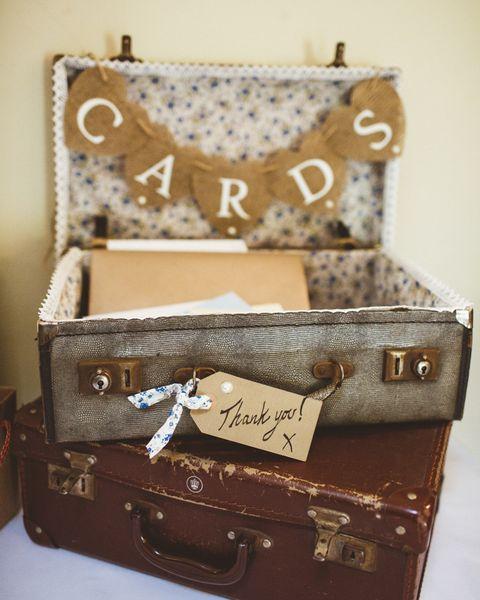 suitcase card display country wedding idea