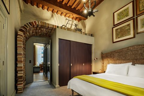 Room, Property, Bedroom, Interior design, Furniture, Building, Bed, Yellow, Wall, Architecture,