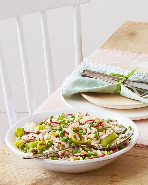 Pearl Couscous With Leeks and Peas