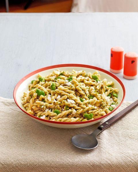 Fava-Bean Pasta Salad with Garlic-Scape Pesto