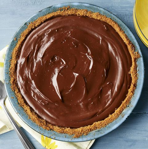 chocolate pie on blue wood surface