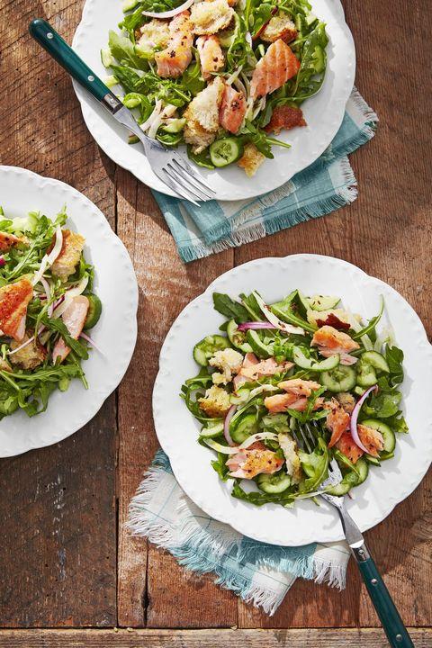 summer salads cucumber salmon panzanella