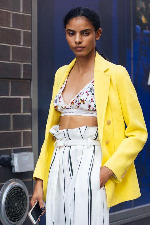 Street fashion, Yellow, Clothing, Fashion, Beauty, Snapshot, Outerwear, Blazer, Model, Electric blue,