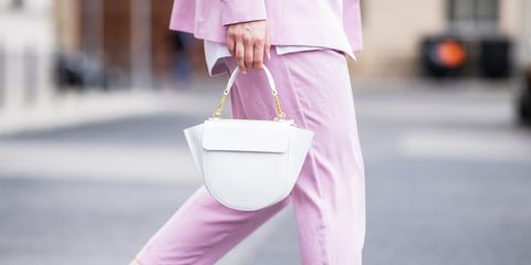 White, Pink, Street fashion, Clothing, Purple, Lavender, Fashion, Shoulder, Bag, Trousers,
