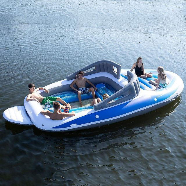 sun pleasure 6 person inflatable bay breeze boat island party pool float