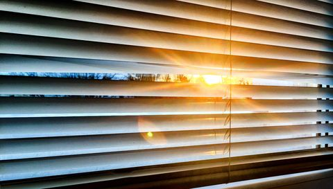 sun streaming through blinds
