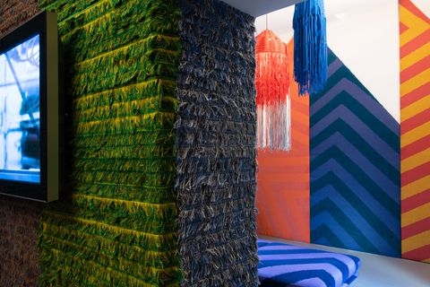 Green, Blue, Wall, Room, Textile, Interior design, Architecture, Tree, House, Furniture,