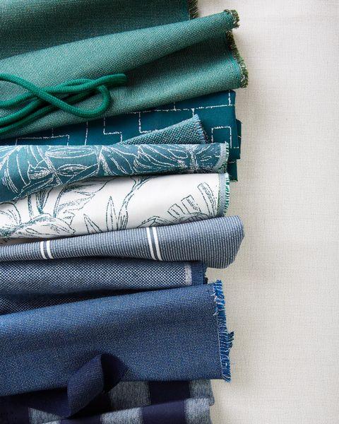 blue fabrics from sunbrella's balance collection