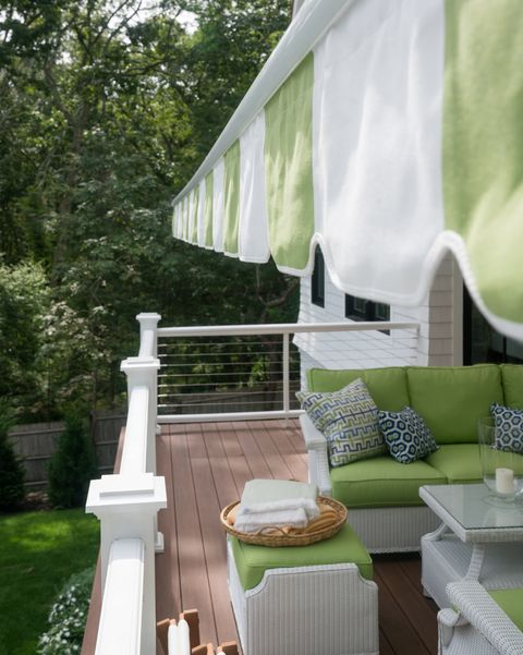outdoor space with an awning made of sunbrella fabric