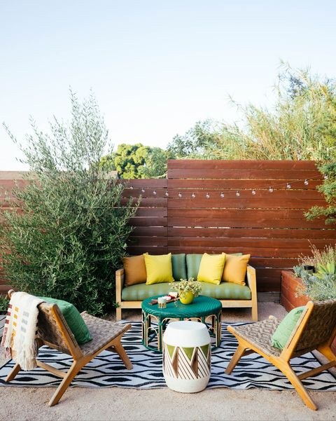 outdoor space with cozy seating designed by dabito of old brand new