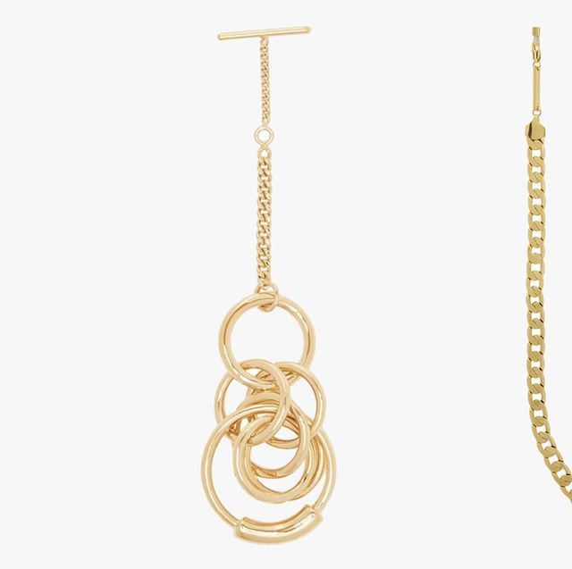 Jewellery, Fashion accessory, Chain, Body jewelry, Yellow, Necklace, Earrings, Metal,