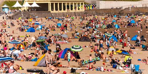 British sunbathers on Barry Island, Wales