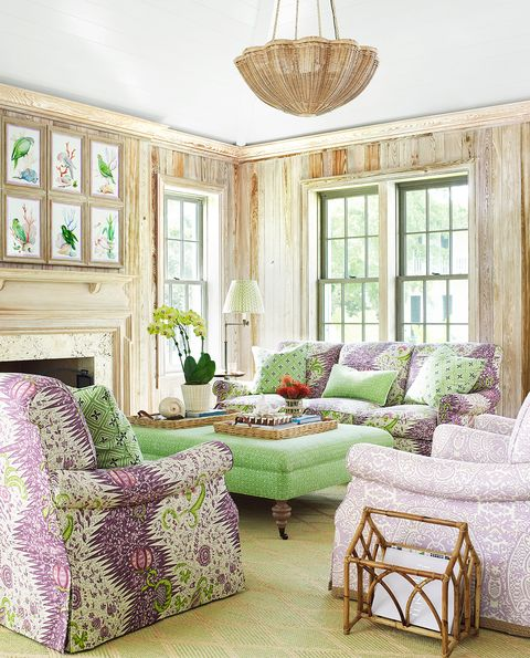 green and lavender living room
