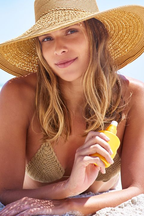 Clothing, Hat, Beauty, Skin, Sun hat, Blond, Bikini, Cowboy hat, Headgear, Summer,