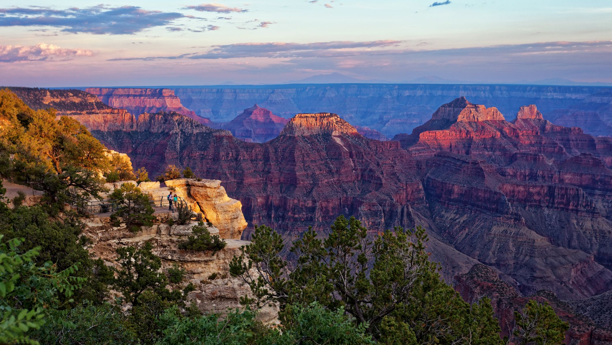 Sunset at Bright Angel area of Grand Canyon North Rim