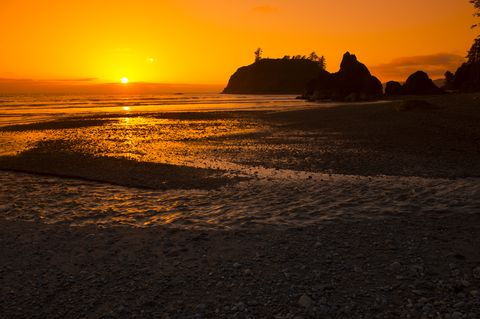 Sunset at Ruby Beach on the Olympic Peninsula in the Olympic...