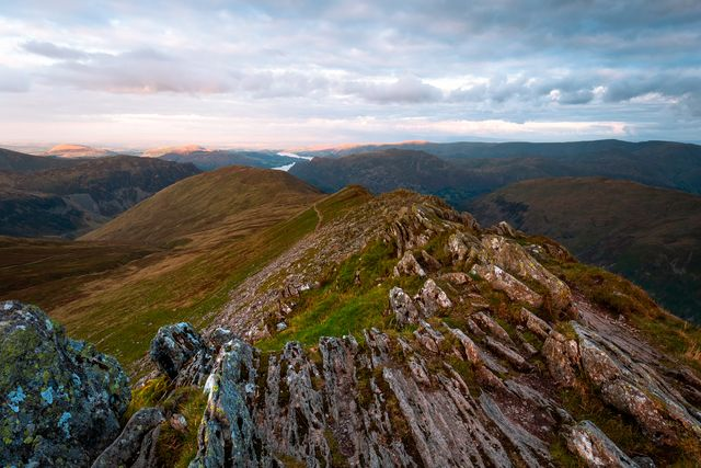sunset from helvellyn, cumbria, lake district, england