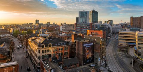 Sunset over the centre of Manchester city in the UK