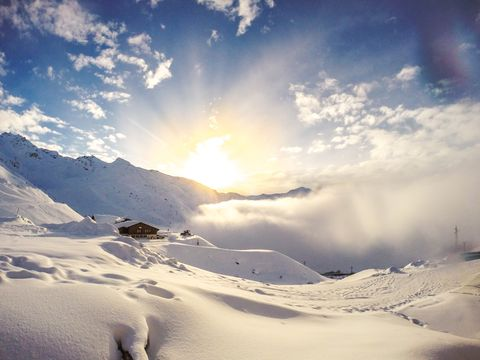Sunset over val thorens, Savoie, France