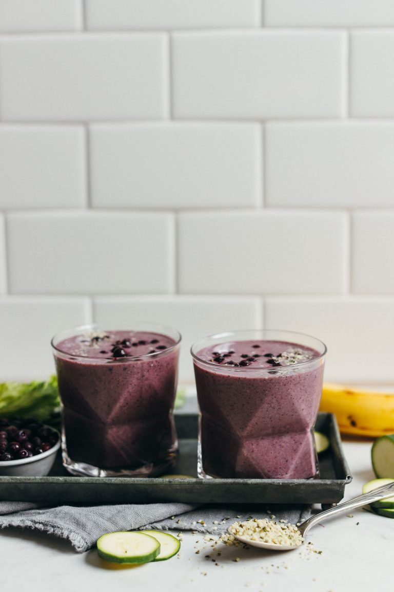 """Zucchini Blueberry Smoothie There are """"zoodles"""" of ways to sneak this tasty green veg into smoothies, and I can't think of a better way than paired with organic blueberries, maca powder, leafy greens, and hemp. Get the recipe Per serving: 218 calories, 10 g fat (6 g saturated), 32 g carbs, 16 g sugar, 133 mg sodium, 5 g fiber, 6 g protein"""