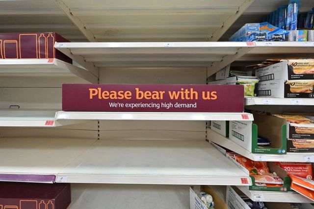 supermarket shelves are looking empty again thanks to workers being forced to self isolate