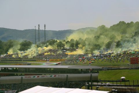 Supporters of Valentino Rossi during the Moto GP Oakley...