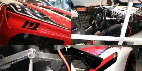 Land vehicle, Vehicle, Car, Race car, Red, Automotive exterior, Tire, Sports prototype, Automotive design, Automotive tire,