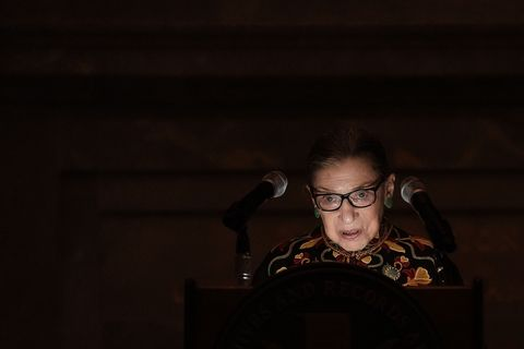justice ruth bader ginsburg attends naturalization ceremony  at national archives