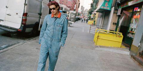 Clothing, Street fashion, Denim, Jeans, Yellow, Fashion, Workwear, Outerwear, Textile, Trousers,
