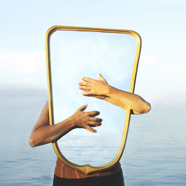 surreal image of a transparent mirror concept of door to freedom and imagination