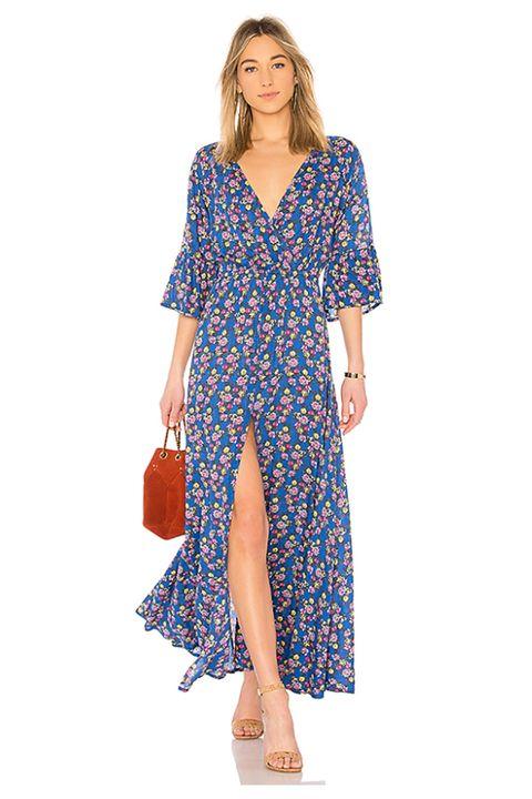 Clothing, Day dress, Dress, Blue, Sleeve, Shoulder, Cover-up, Neck, Pattern, Electric blue,