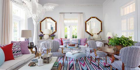 Living room, Room, Furniture, Interior design, Property, Green, Home, Decoration, Building, Pink,