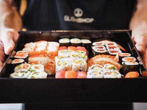 Cuisine, Food, Sushi, Rice, Ingredient, Dish, Meal, White rice, Recipe, Tableware,