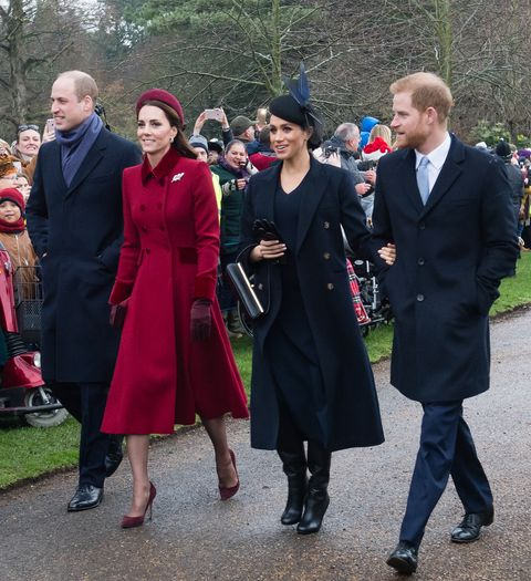 kings lynn, england   december 25 prince william, duke of cambridge, catherine, duchess of cambridge, meghan, duchess of sussex and prince harry, duke of sussex attend christmas day church service at church of st mary magdalene on the sandringham estate on december 25, 2018 in kings lynn, england photo by samir husseinwireimage