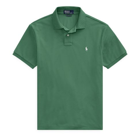 Clothing, Green, T-shirt, Sleeve, Polo shirt, Collar, Active shirt, Line, Button, Sportswear,