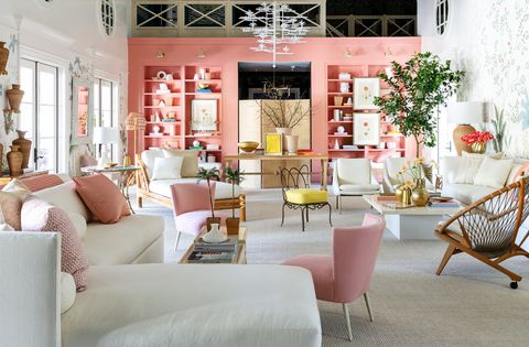 Living room, Room, Interior design, Pink, Furniture, Property, Building, Home, Table, House,