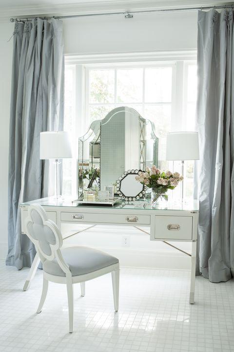 White, Curtain, Furniture, Room, Interior design, Living room, Property, Window treatment, Table, Floor,