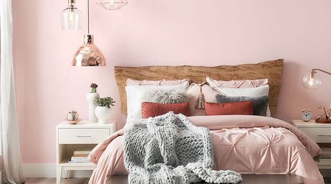 Bedroom, Bedding, Furniture, Bed, Bed sheet, Room, Bed frame, Interior design, Pink, Nightstand,