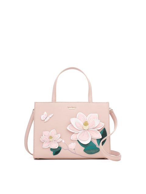 Handbag, Bag, Shoulder bag, Fashion accessory, Pink, Beige, Tote bag, Luggage and bags, Satchel, Petal,
