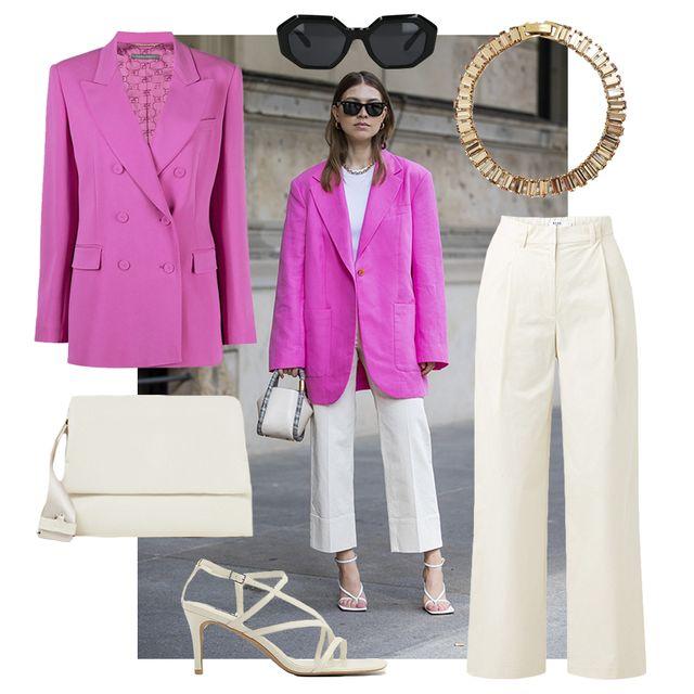 swantje soemmer draagt beige outfit en roze blazer