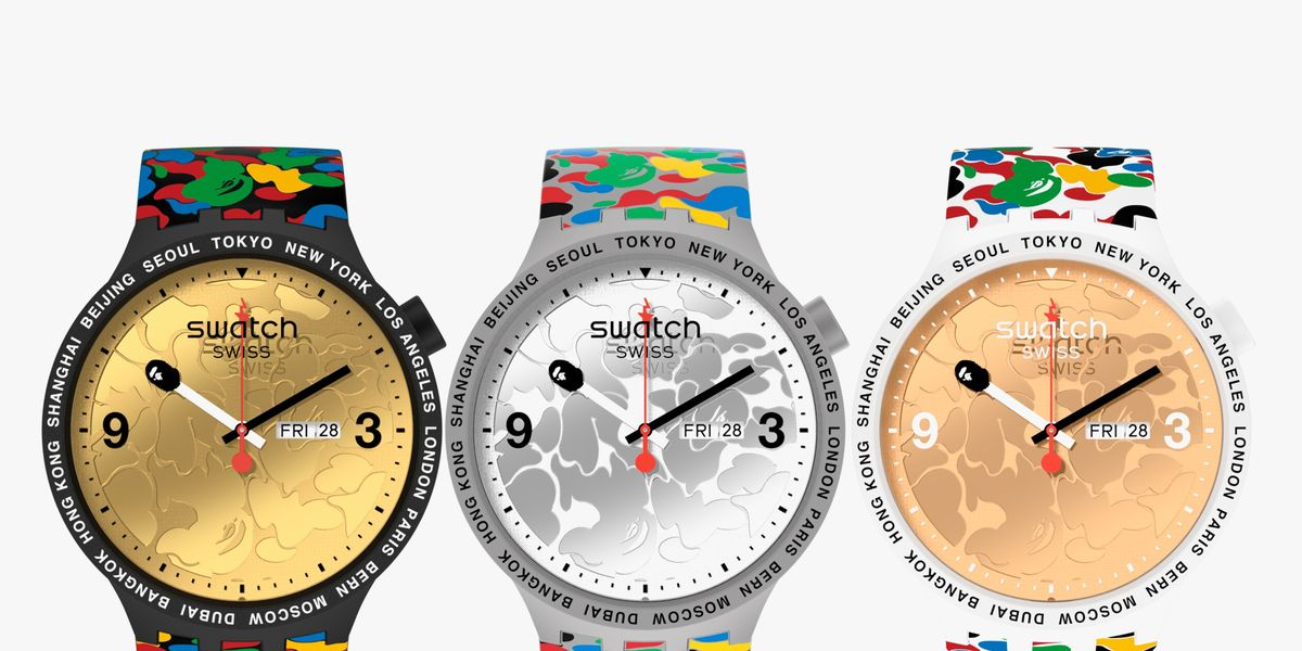 Swatch Collaborated with Japanese Streetwear Brand Bape on These Funky New Watches