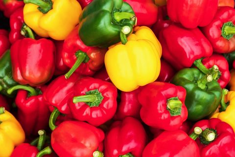 sweet pepper. Colorful sweet bell peppers, natural background. fresh capsicum. Cooking vegetable salad. Colorful green , red and yellow peppers paprika