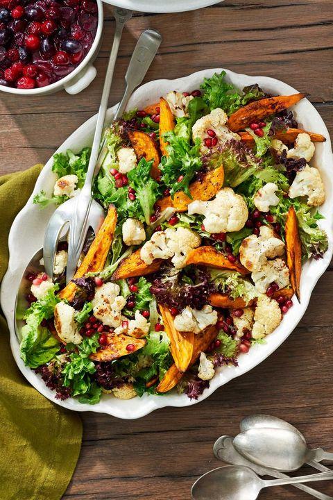 vegetarian thanksgiving sweet potato and cauliflower salad