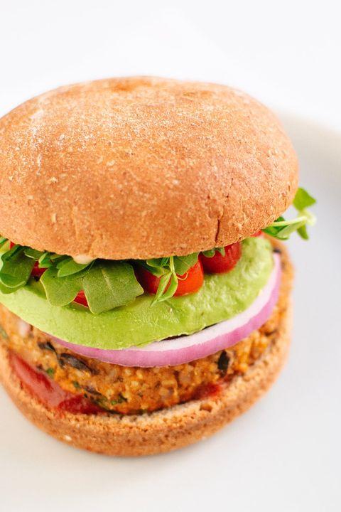 Dish, Food, Cuisine, Veggie burger, Hamburger, Ingredient, Salmon burger, Fast food, Original chicken sandwich, Breakfast sandwich,