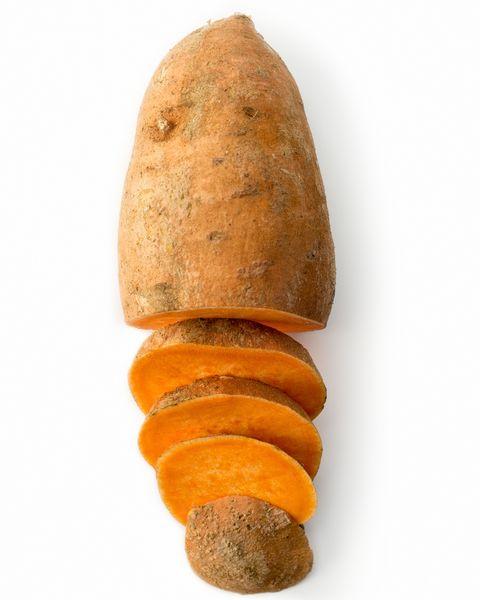 Sweet potato isolated on white studio background