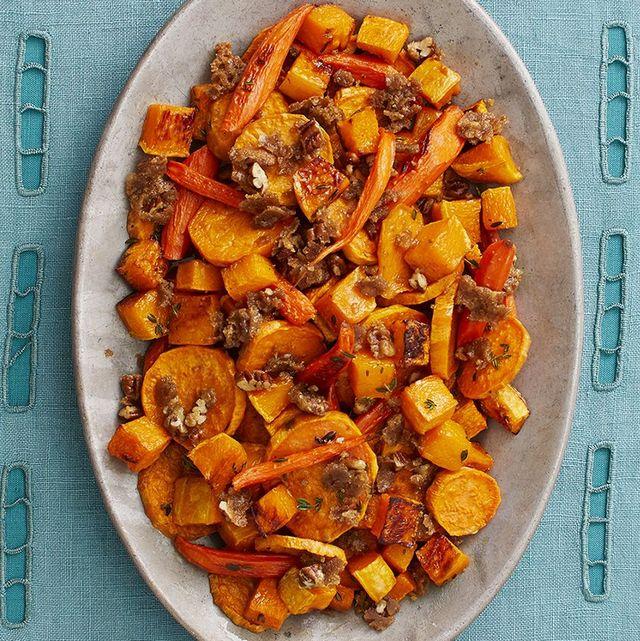 sweet potato recipes roasted root veggies overhead on blue linen